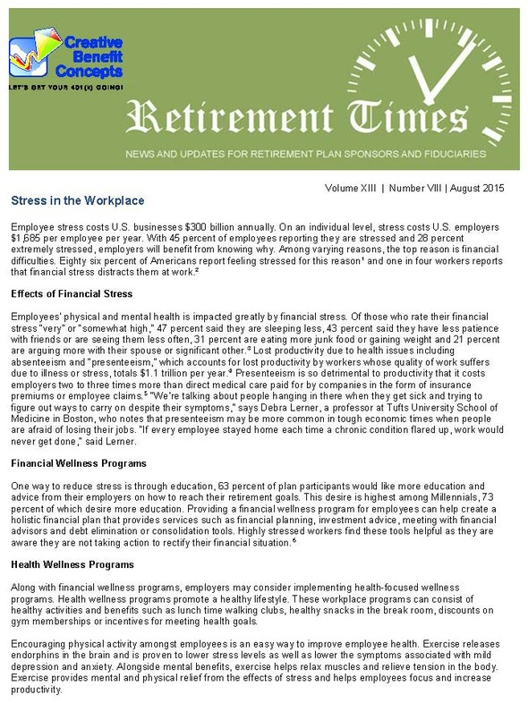 Retirement Times News  Updates  Creative Benefit Concepts  Get